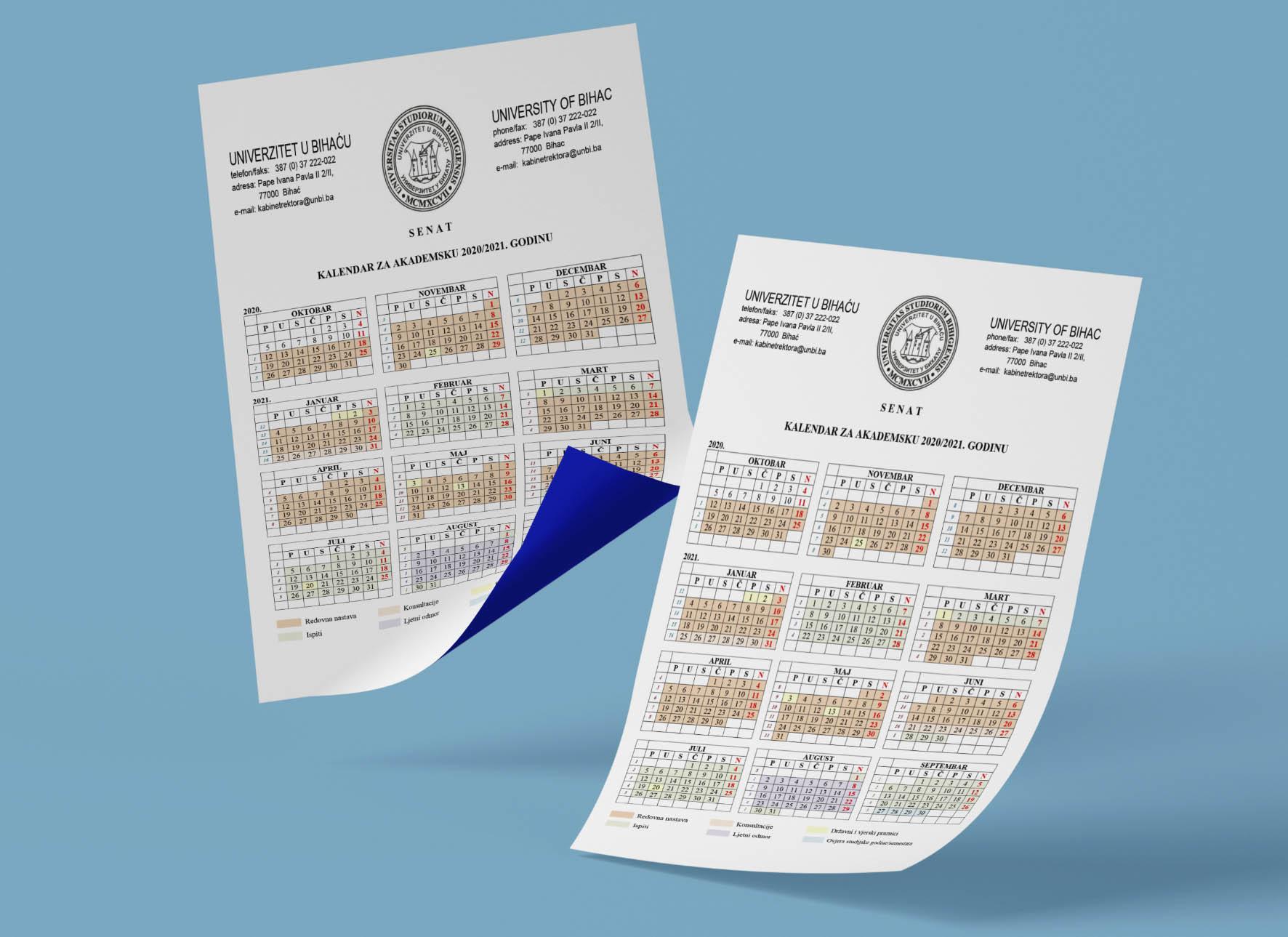 Akademski kalendar za 2020/2021. godinu