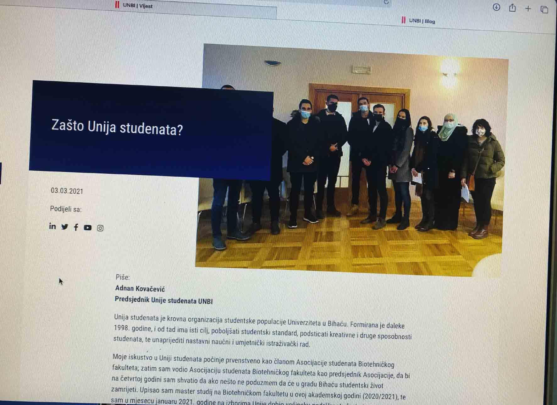 Blog tekst predsjednika Unije studenata UNBI Adnana Kovačevića